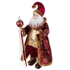 Музыкальное украшение Дед Мороз в бордовом костюме