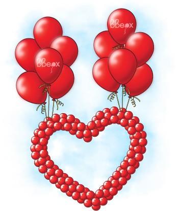 Фигура из шаров Летающее сердце