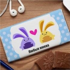Шоколадная открытка Зайчики