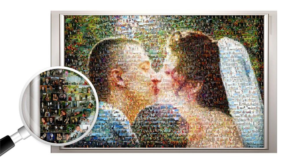 Фотомозаика на холсте на годовщину свадьбы, 60х80 см