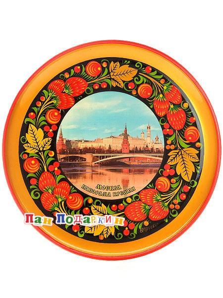 Тарелка-панно хохлома Москва. Панорама Кремля