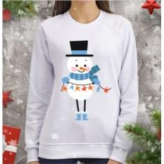 Женский свитшот Снеговик с гирляндой (звезды)