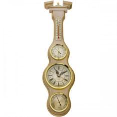 Настенные часы из светлого бука с барометром и термометром