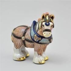 Керамическая статуэтка с позолотой Лошадь тяжеловоз