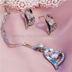 Комплект «Возлюбленной» с белыми камнями Сваровски