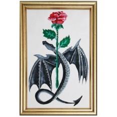 Картина с кристаллами Swarovski Дракон с розой