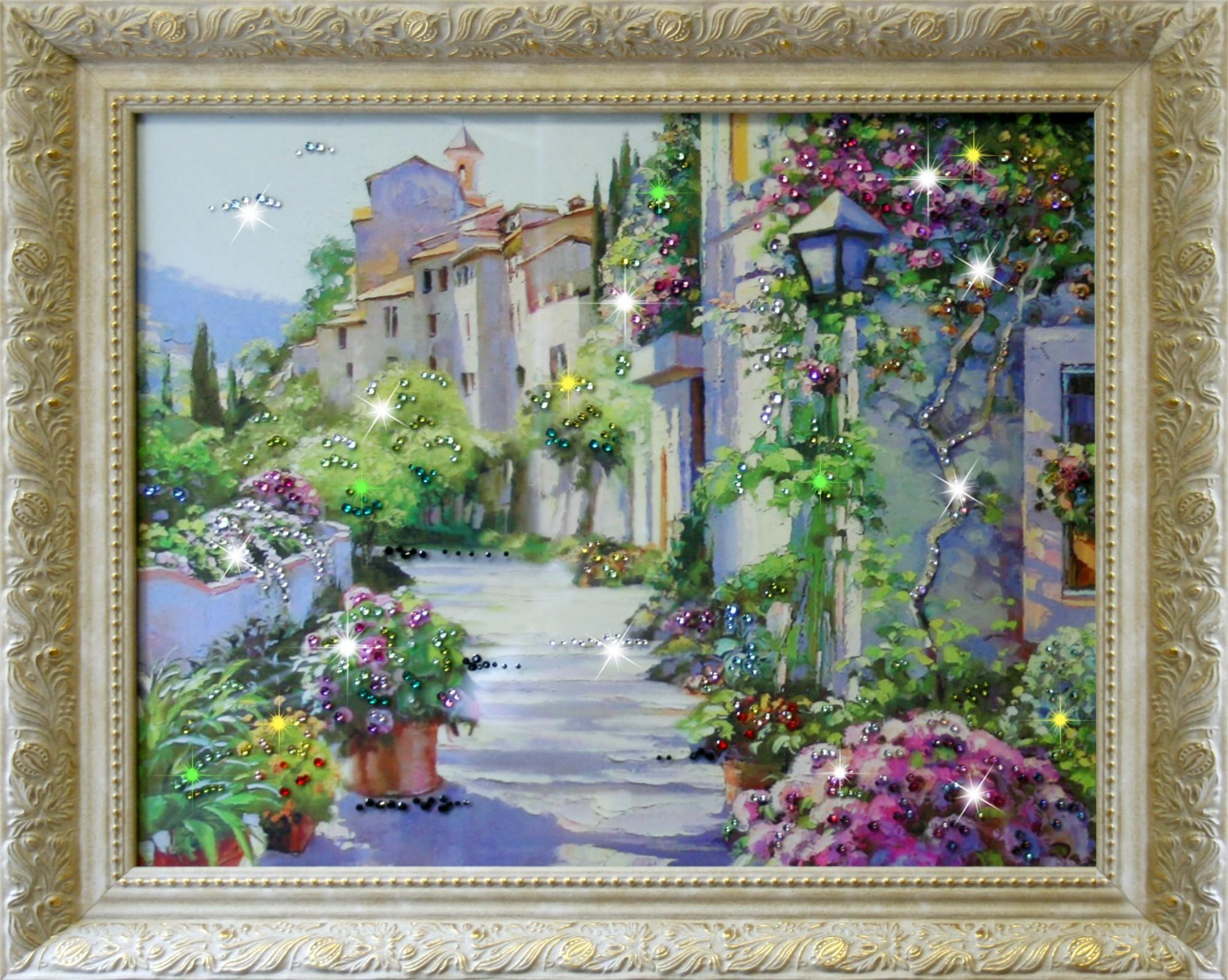 Картина Сваровски Цветущий город