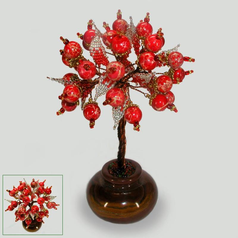 Дерево счастья из красного агата в вазочке из оникса