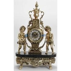 Часы из бронзы Дети с гирляндой, золотые