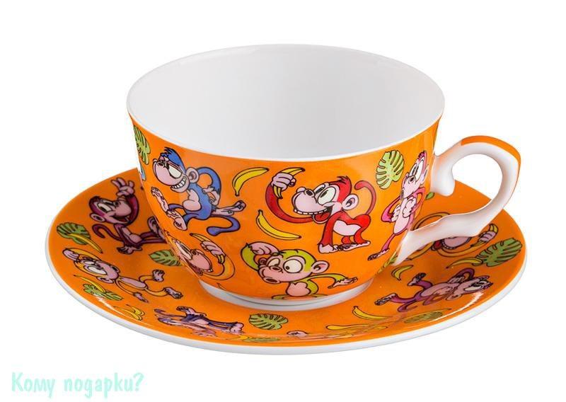 Чайный набор на 1 персону «Обезьяны», 250 мл, оранжевый