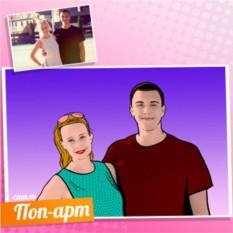 Портрет пары по фото в стиле Комикс с градиентом