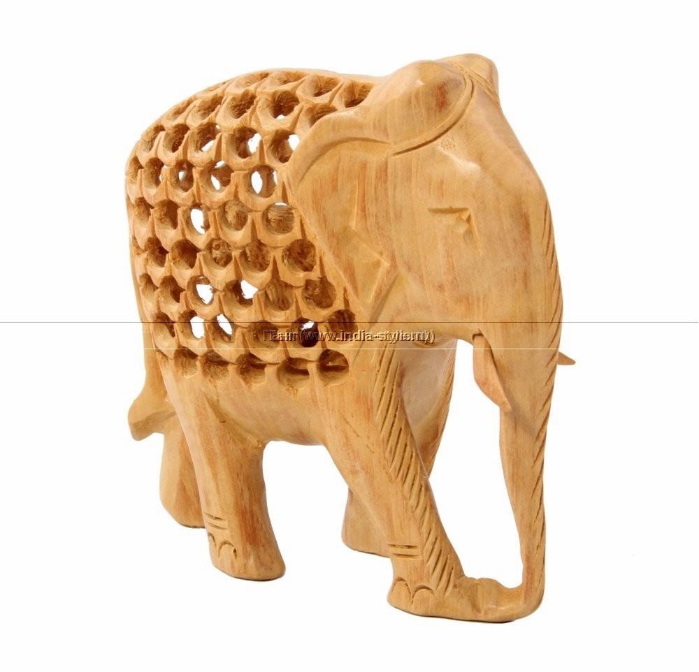 Резная статуэтка Слон с опущенным хоботом
