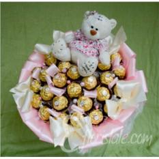 Букет из конфет Ferrero Rocher и мишки