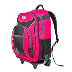Детский розовый рюкзак на колёсах
