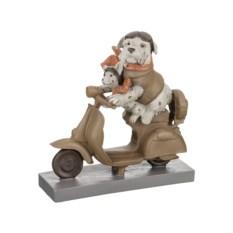 Бежевая фигурка из полистоуна Собаки на мопеде