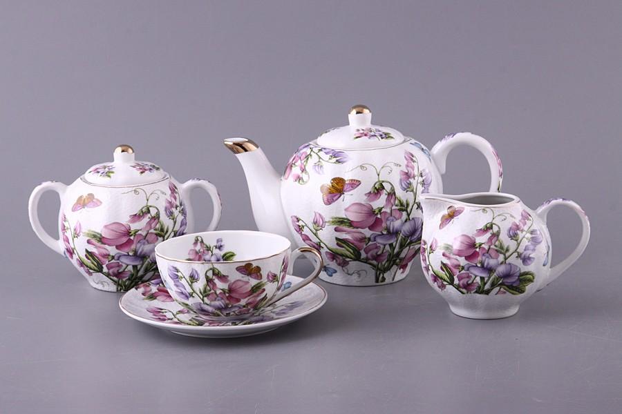 Фарфоровый чайный сервиз на 6 персон из 15 предметов