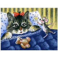 Картина по номерам «Кот и мышка»