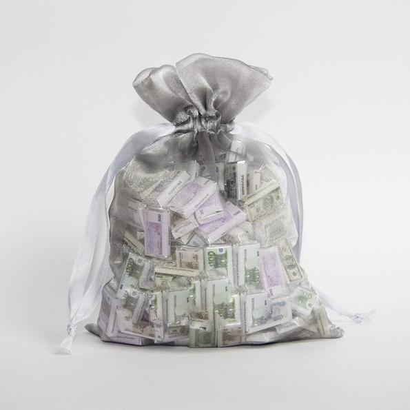 Мешок с шоколадными деньгами серый