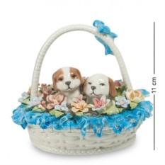Фигурка Щенки в цветочной корзине (Pavone)