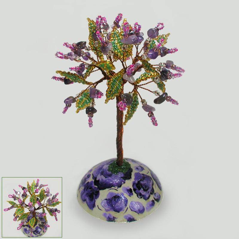 Волшебное дерево из аметиста на сфере ручной росписи