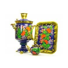 Дровяной самовар с ручной росписью Рябиновая поляна