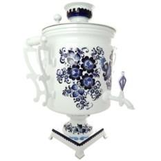 Набор Гжель: самовар на 45 литров и заварочный чайник