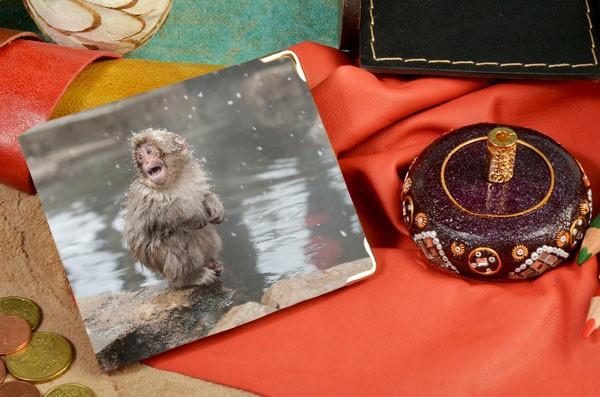 Кожаное бежевое портмоне Милая снежная обезьянка