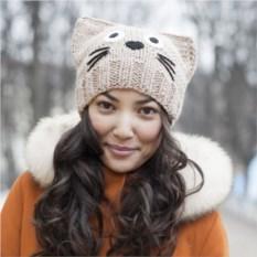 Вязанная шапка Бежевый котик