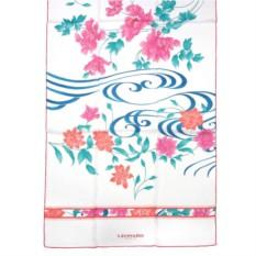 Белый шелковый палантин с розово-бирюзовыми цветками Leonard