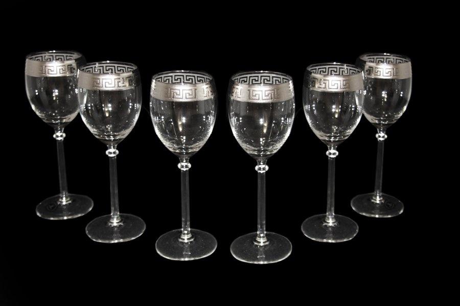 Набор 6 фужеров для вина 200 мл Fumo Версаче, платина