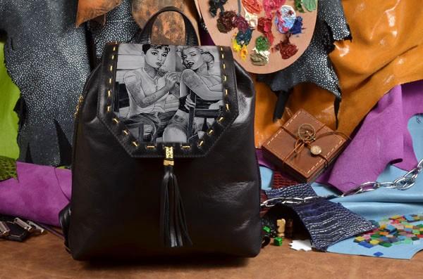 Женский черный кожаный рюкзак Одри и Мэрилин