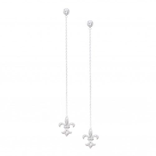 Серебряные серьги на длинной цепочке с белыми цирконами