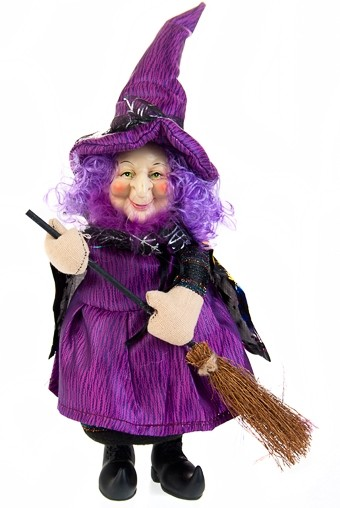 Декоративная кукла Добрая ведьмочка с метлой