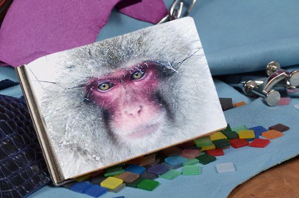 Кожаный бежевый зажим для денег Взгляд снежной обезьяны