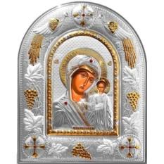 Казанская икона Божьей Матери в серебряном окладе