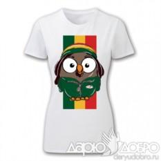 Белая женская футболка с совой Боб с флагом от Goofi
