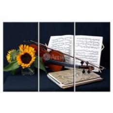 Модульная картина «Натюрморт со скрипкой» 70×48 см