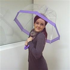 Зонт-трость с прозрачным куполом, сиреневый