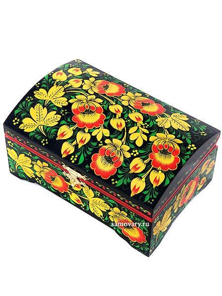 Деревянная шкатулка с росписью Хохлома