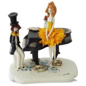 Статуэтка «Пианист с балериной в жёлтом»