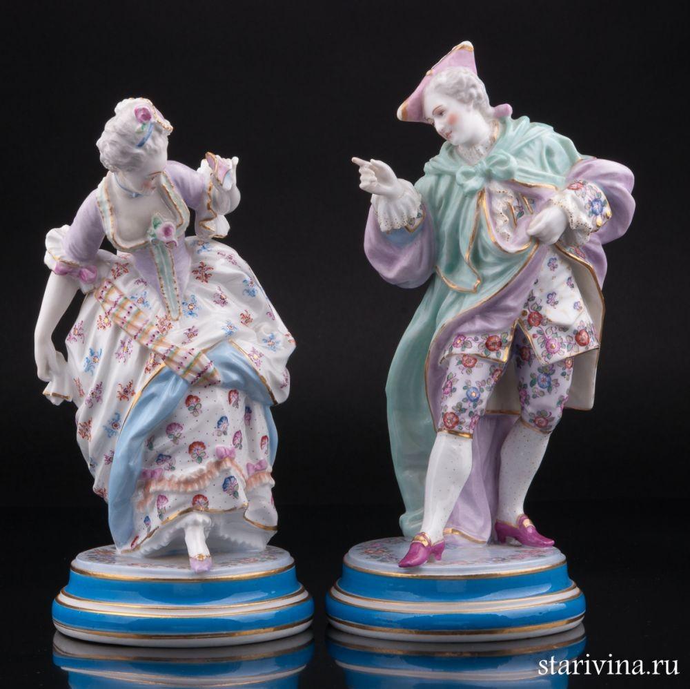 Парные фарфоровые статуэтки Пара на карнавале