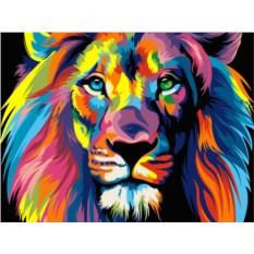 Картина по номерам «Радужный лев»