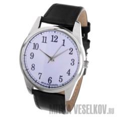 Часы Mitya Veselkov Цифры и насечки на белом