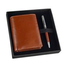 Коричневый набор William Lloyd: портмоне, шариковая ручка