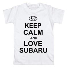 Мужская футболка из хлопка Keep calm and love subaru