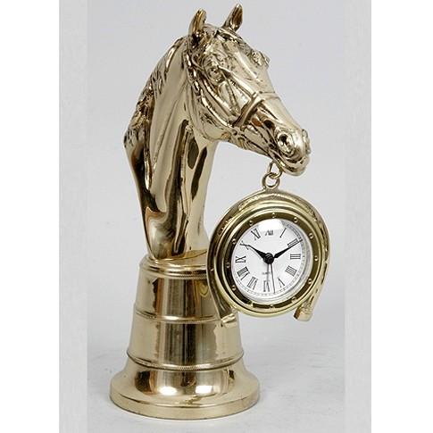 Часы с будильником бронзовые интерьерные Лошадь