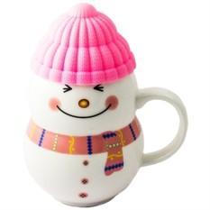 Розовая кружка-снеговик Растопи лед
