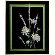 Картина из кристаллов «Ромашки с колосками»