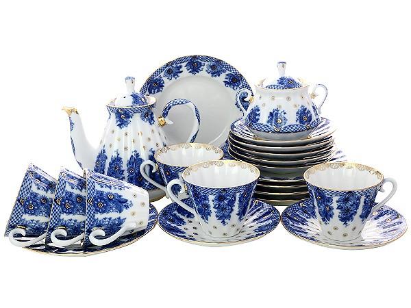 Сервиз фарфоровый чайный, рисунок Корзиночка