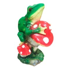Декоративная садовая фигура Лягушка на мухоморе